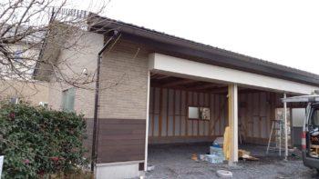 筑西市で新築木造車庫進行中