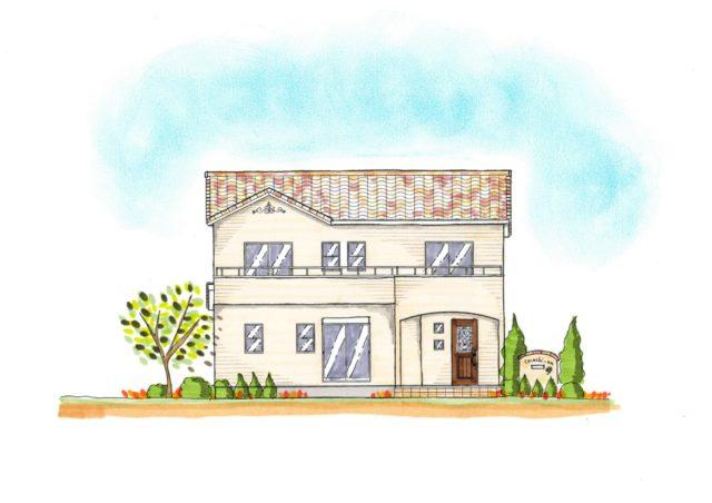 かわいいおうち完成しました<br /> アイボリーの壁と混ぜ葺き屋根の家