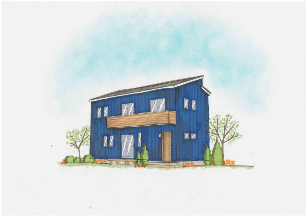 ブルーのガルバリウム鋼板と木目調がオシャレな外観の家