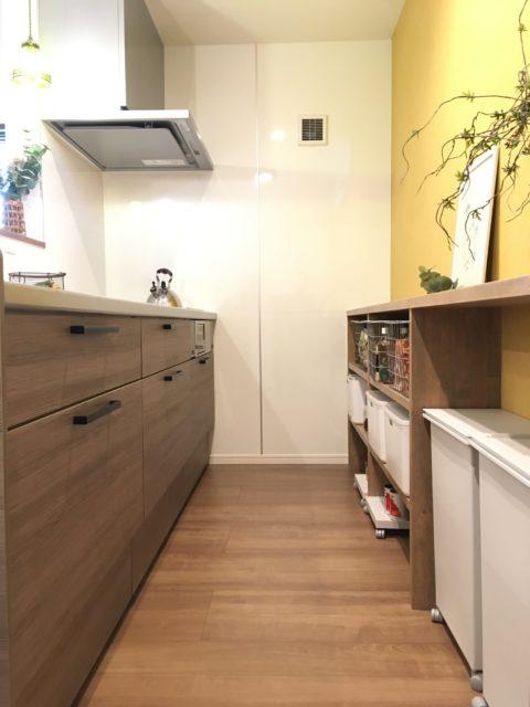 キッチンの背面にゴミ箱スペース。シンクの後ろにあると使いやすいです