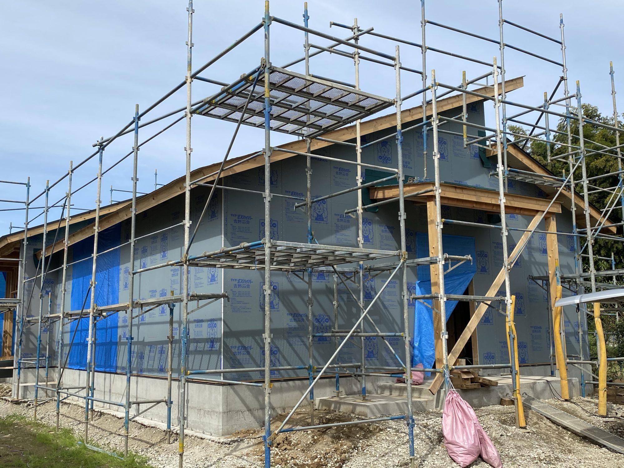 筑西市野殿で新築工事が進んでいます